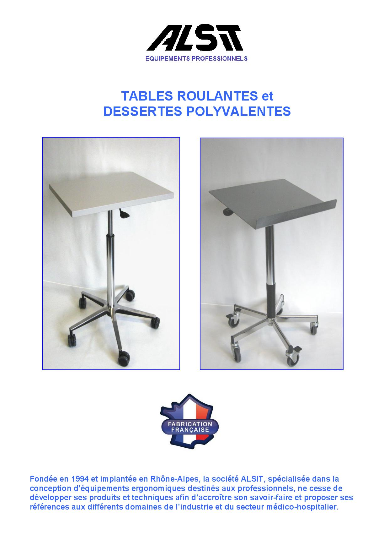 Couverture Depliant ALSIT Tables et Dessertes